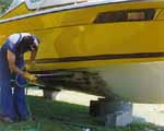 During Cleaning Fiberglass Boat Bottom With algea Strip