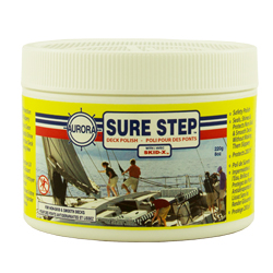 Sure Step. Sealer, polish for non-skid boat surfaces and decks. Not slippery